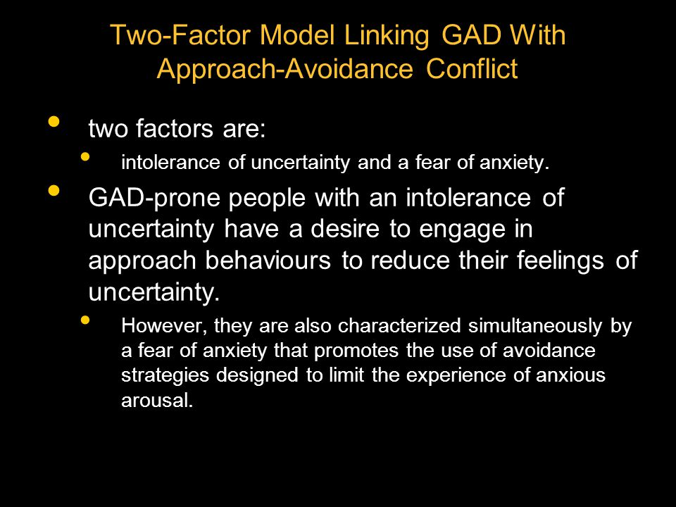 Two-Factor Model Linking GAD With Approach-Avoidance Conflict
