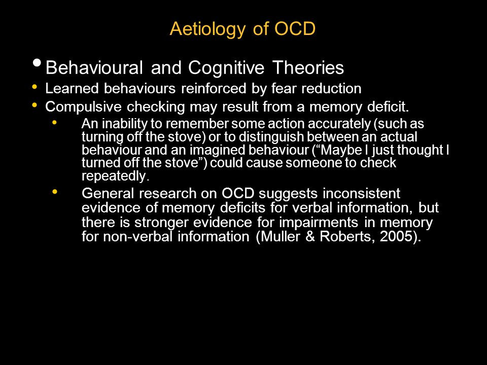 Behavioural and Cognitive Theories