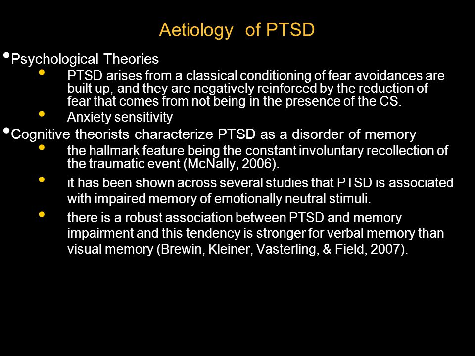 Aetiology of PTSD Psychological Theories