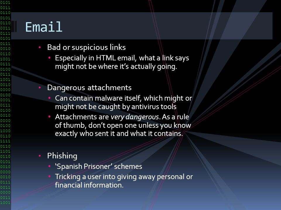 Email Bad or suspicious links Dangerous attachments Phishing