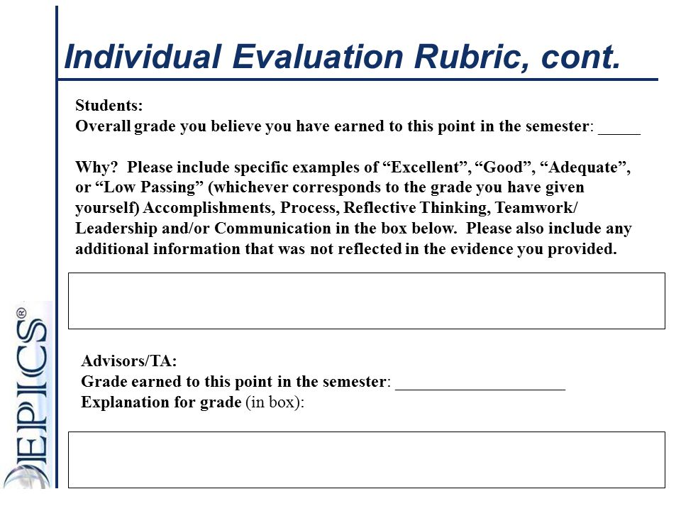 Individual Evaluation Rubric, cont.