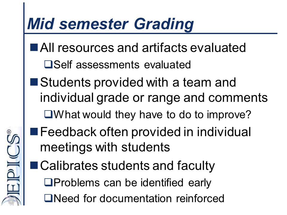 Mid semester Grading All resources and artifacts evaluated