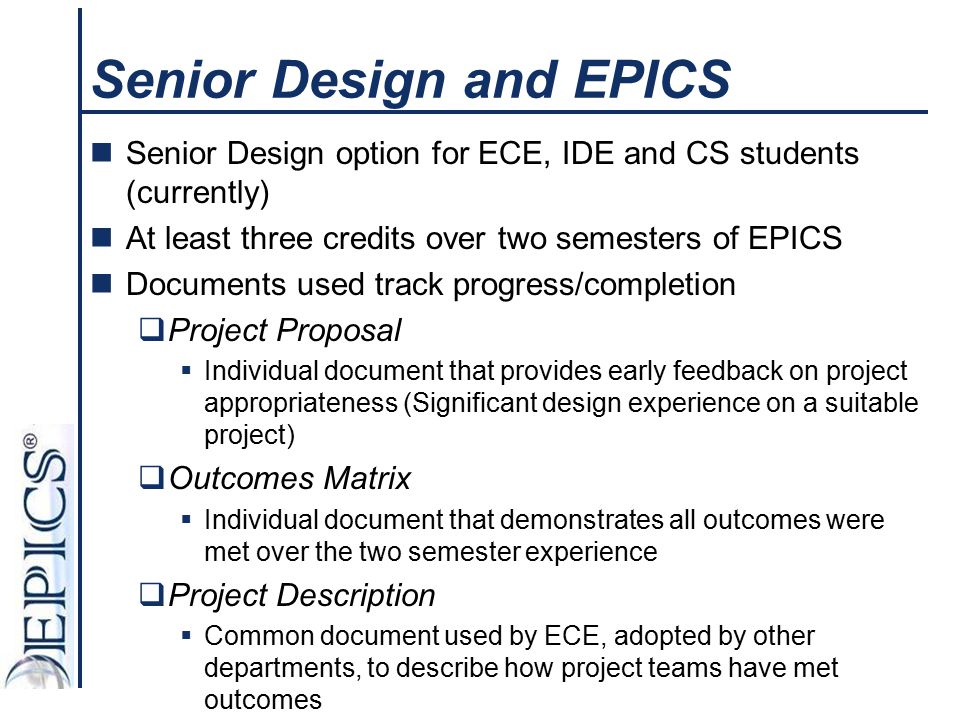 Senior Design and EPICS