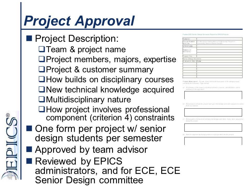 Project Approval Project Description: