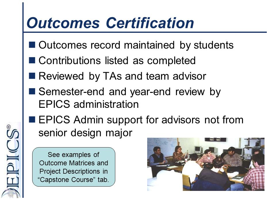 Outcomes Certification