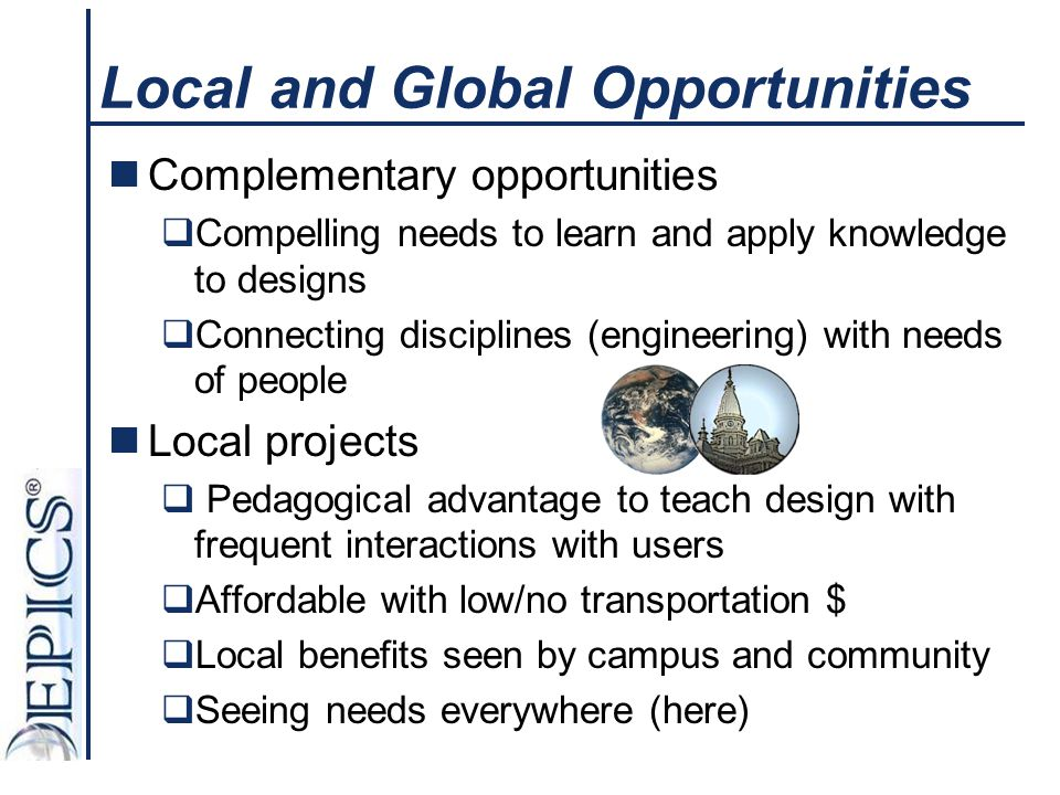Local and Global Opportunities