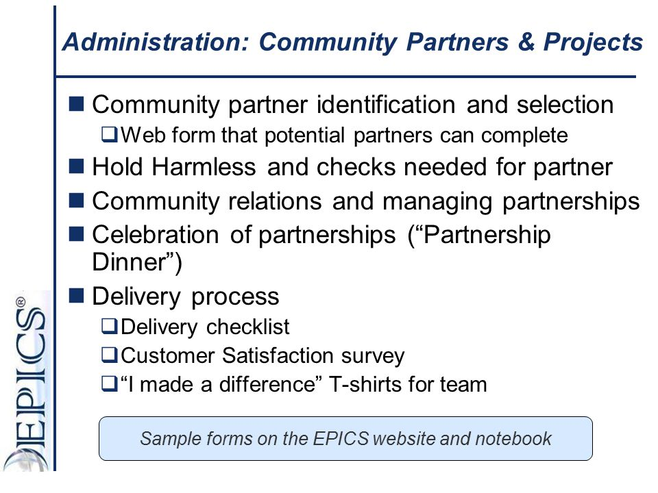 Administration: Community Partners & Projects