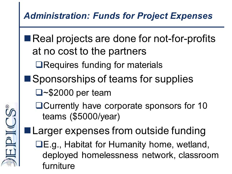Administration: Funds for Project Expenses