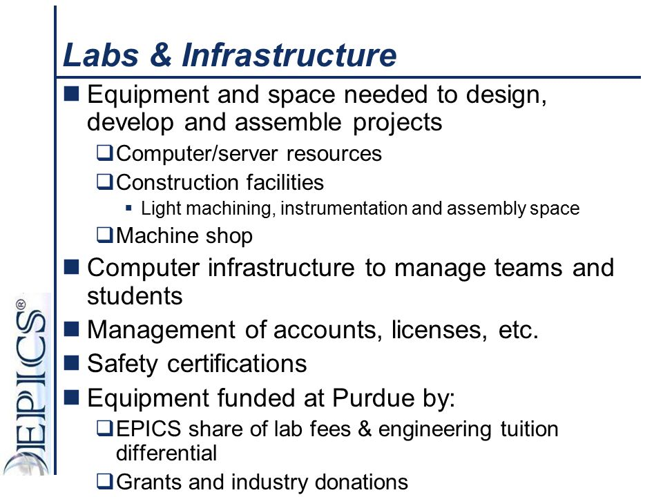 Labs & Infrastructure Equipment and space needed to design, develop and assemble projects. Computer/server resources.