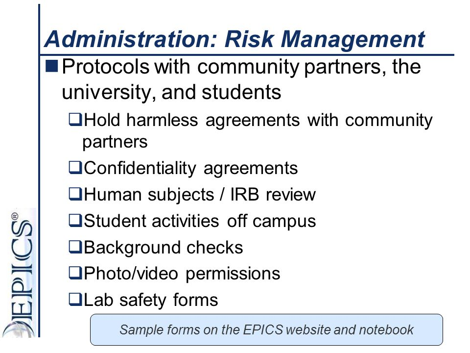 Administration: Risk Management