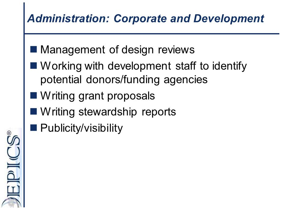 Administration: Corporate and Development