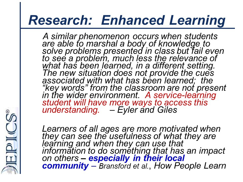 Research: Enhanced Learning