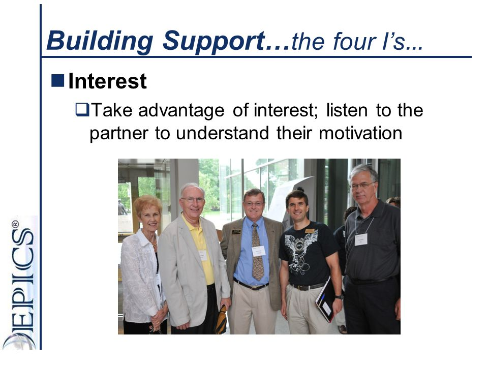 Building Support…the four I's…