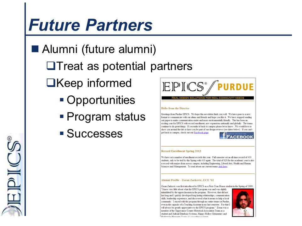 Future Partners Alumni (future alumni) Treat as potential partners