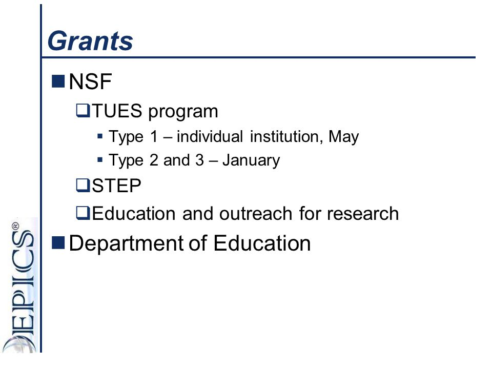 Grants NSF Department of Education TUES program STEP