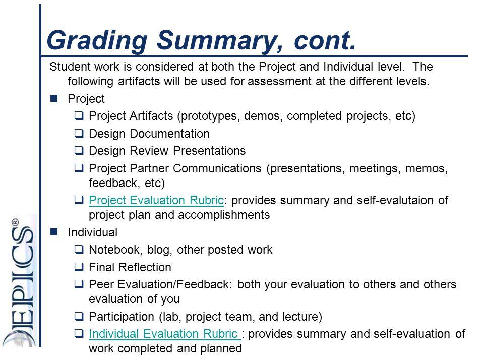 Grading Summary, cont.