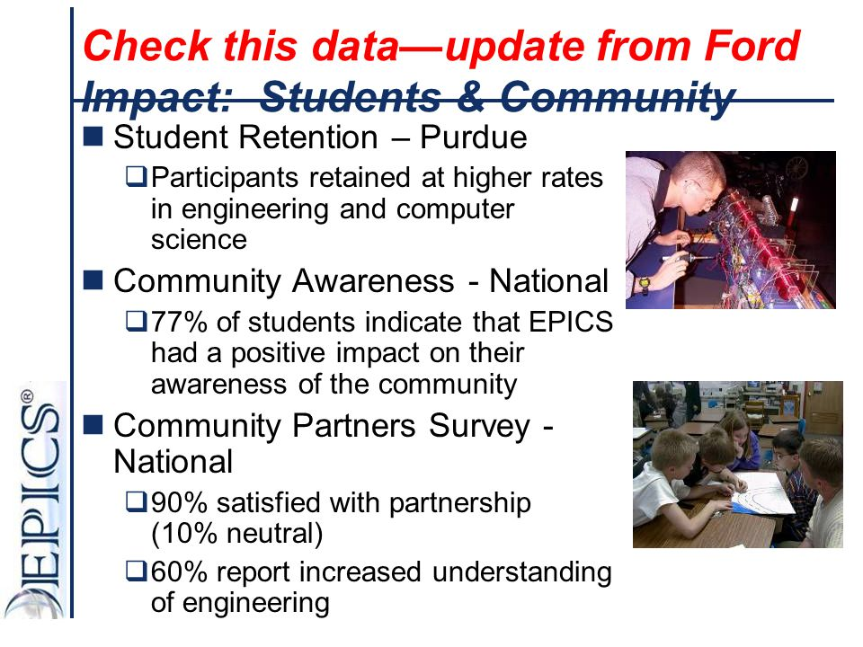 Check this data—update from Ford Impact: Students & Community