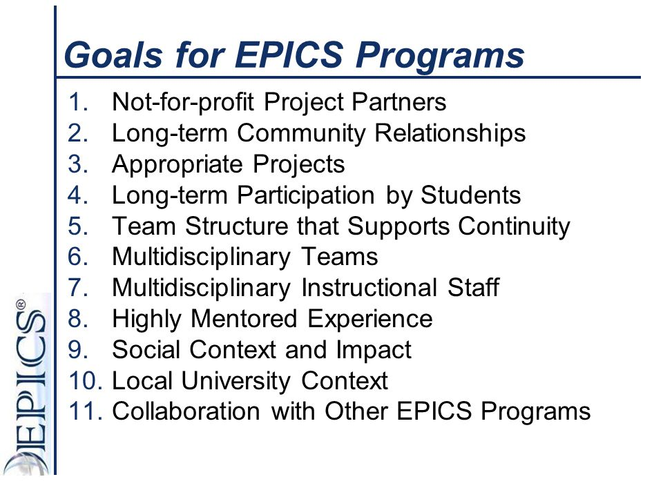 Goals for EPICS Programs
