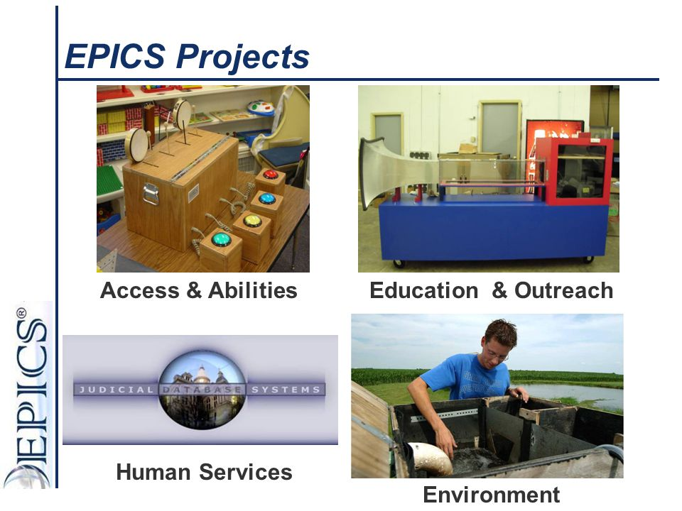 EPICS Projects Access & Abilities Education & Outreach Human Services