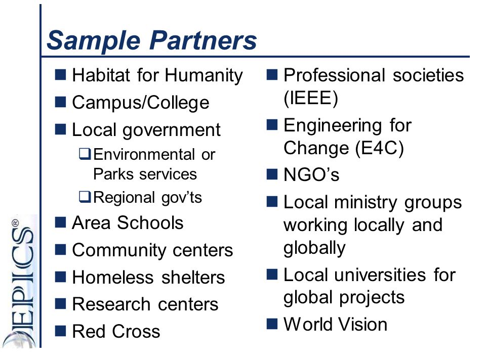 Sample Partners Habitat for Humanity Campus/College Local government
