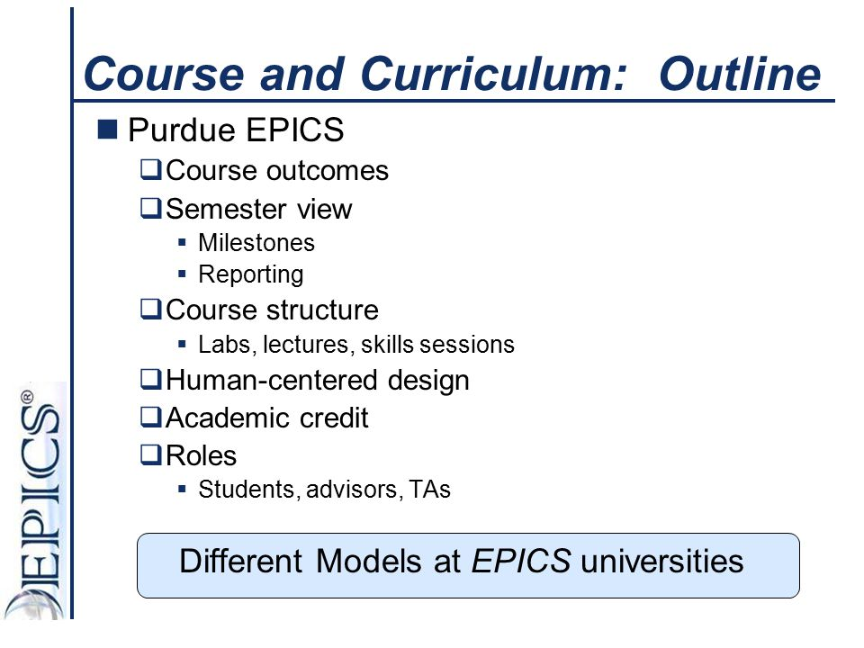 Course and Curriculum: Outline