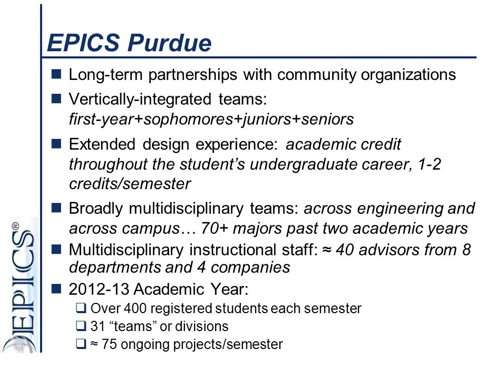 EPICS Purdue Long-term partnerships with community organizations