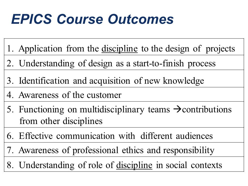 EPICS Course Outcomes 1. Application from the discipline to the design of projects. 2. Understanding of design as a start-to-finish process.