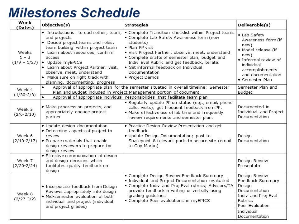 Milestones Schedule Week (Dates) Objective(s) Strategies