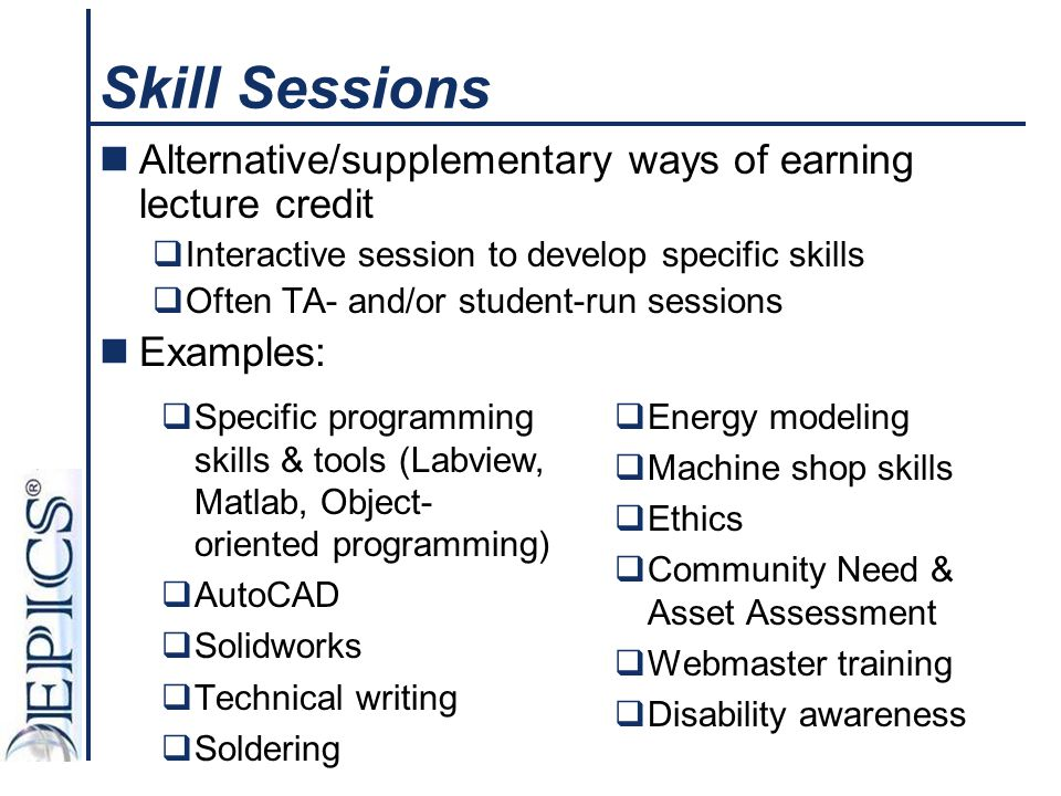 Skill Sessions Alternative/supplementary ways of earning lecture credit. Interactive session to develop specific skills.