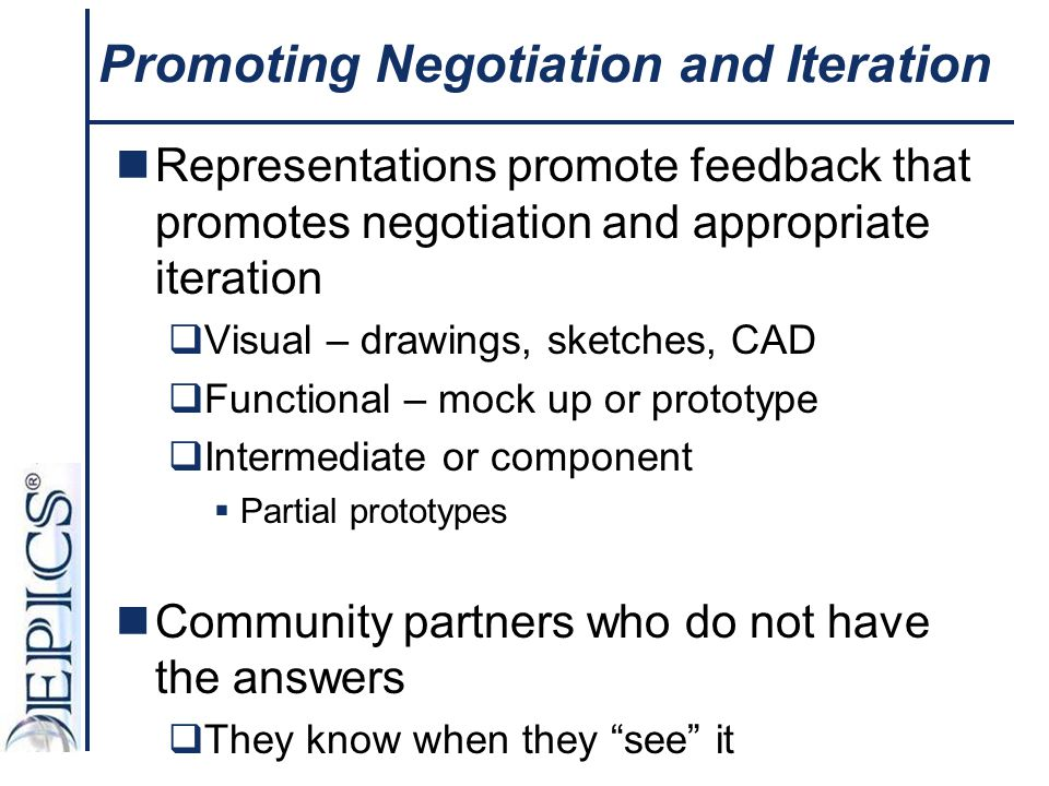 Promoting Negotiation and Iteration