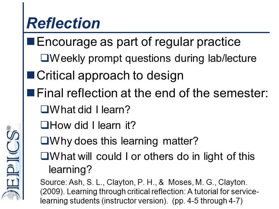 Reflection Encourage as part of regular practice