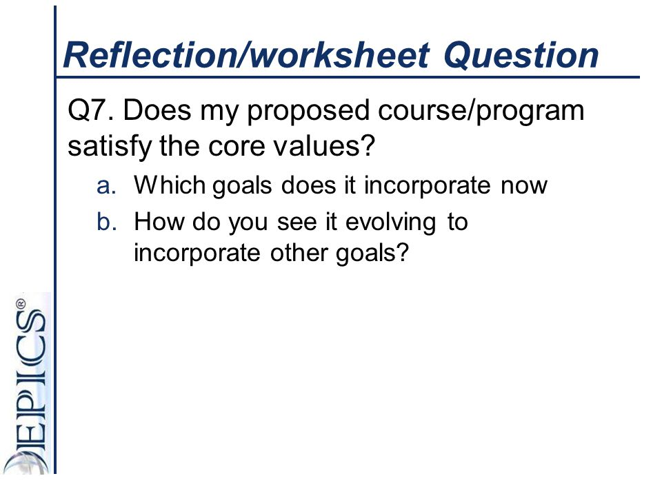 Reflection/worksheet Question
