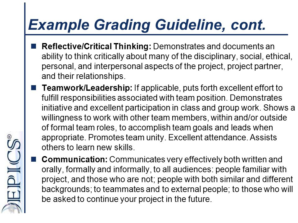 Example Grading Guideline, cont.
