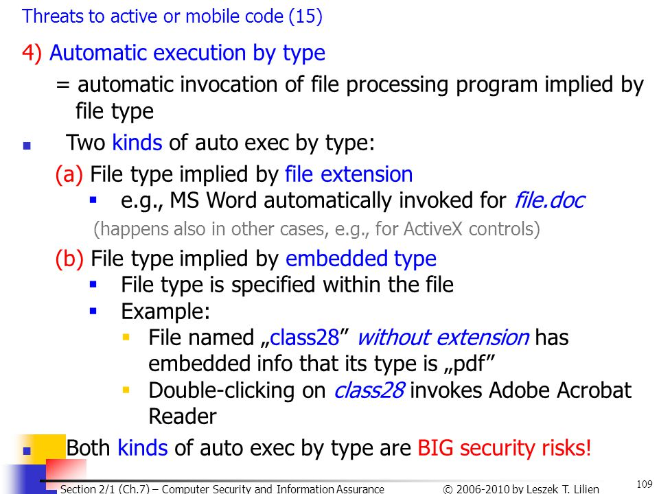 4) Automatic execution by type