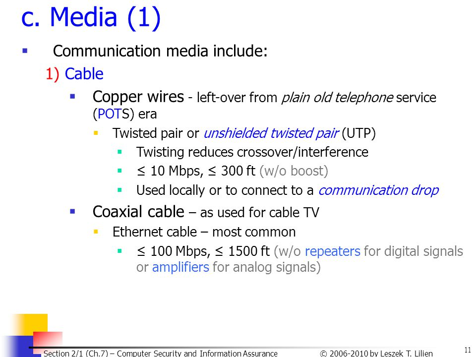 c. Media (1) Communication media include: 1) Cable