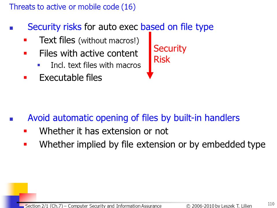Security risks for auto exec based on file type