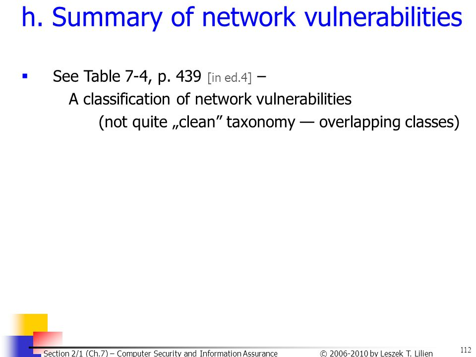 h. Summary of network vulnerabilities