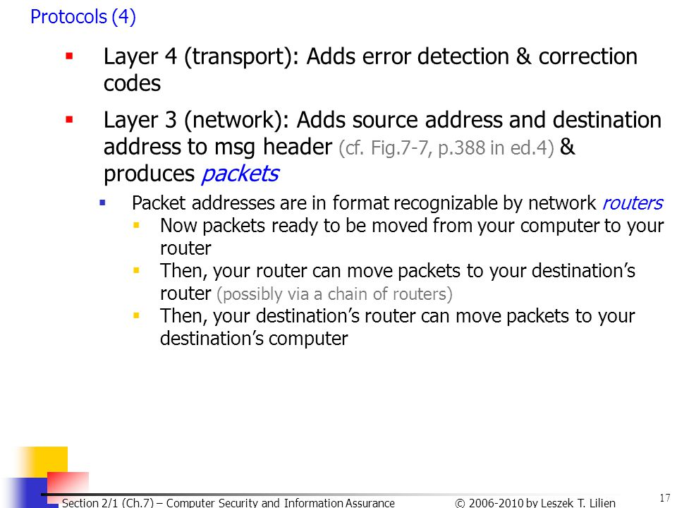 Layer 4 (transport): Adds error detection & correction codes