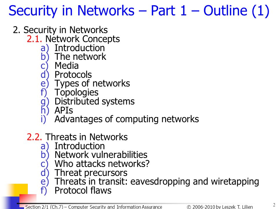 Security in Networks – Part 1 – Outline (1)