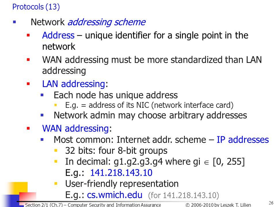 Network addressing scheme