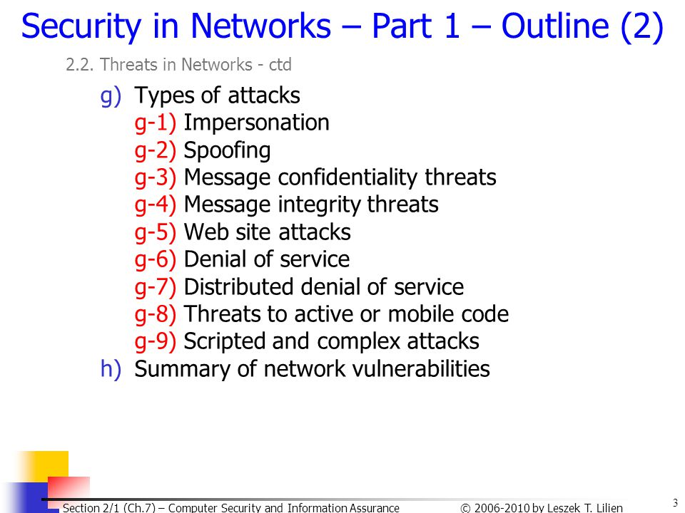 Security in Networks – Part 1 – Outline (2)