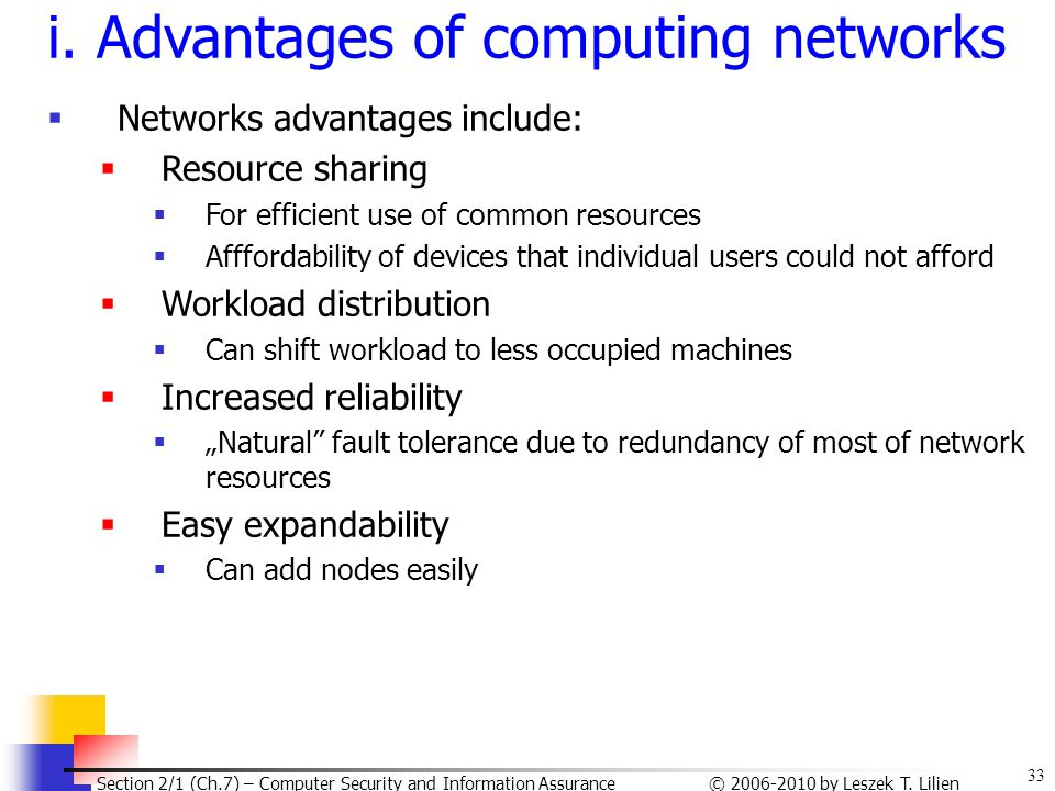 i. Advantages of computing networks