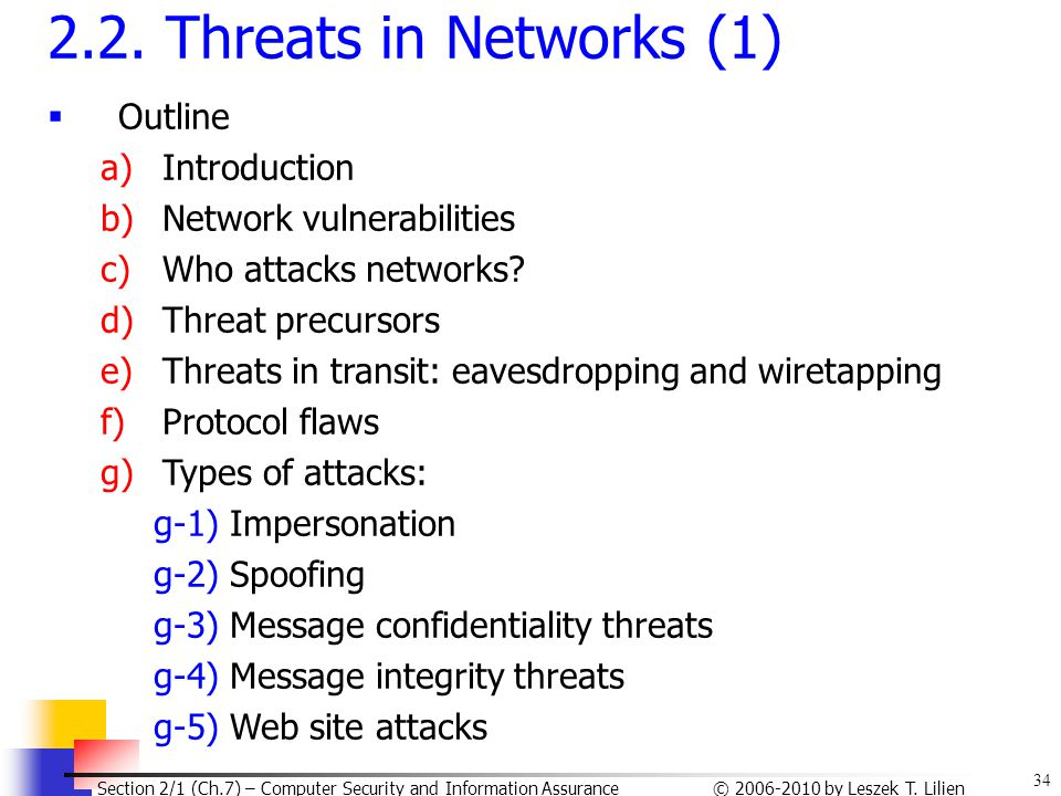 2.2. Threats in Networks (1) Outline Introduction