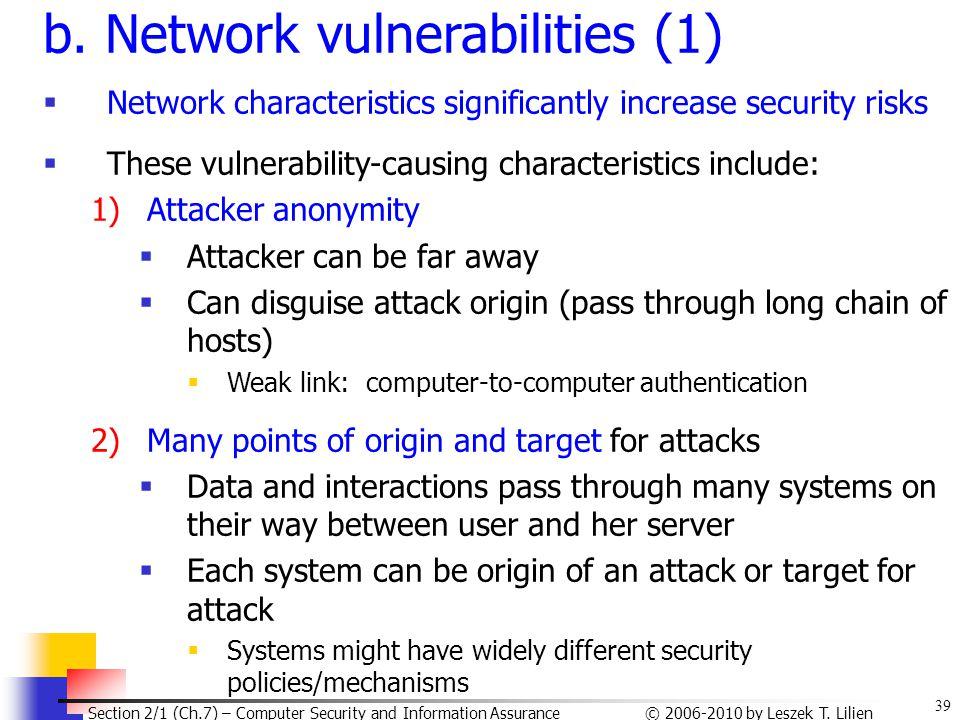 b. Network vulnerabilities (1)