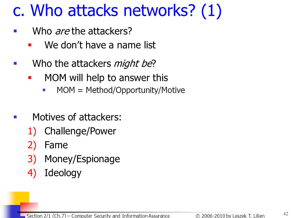 c. Who attacks networks (1)