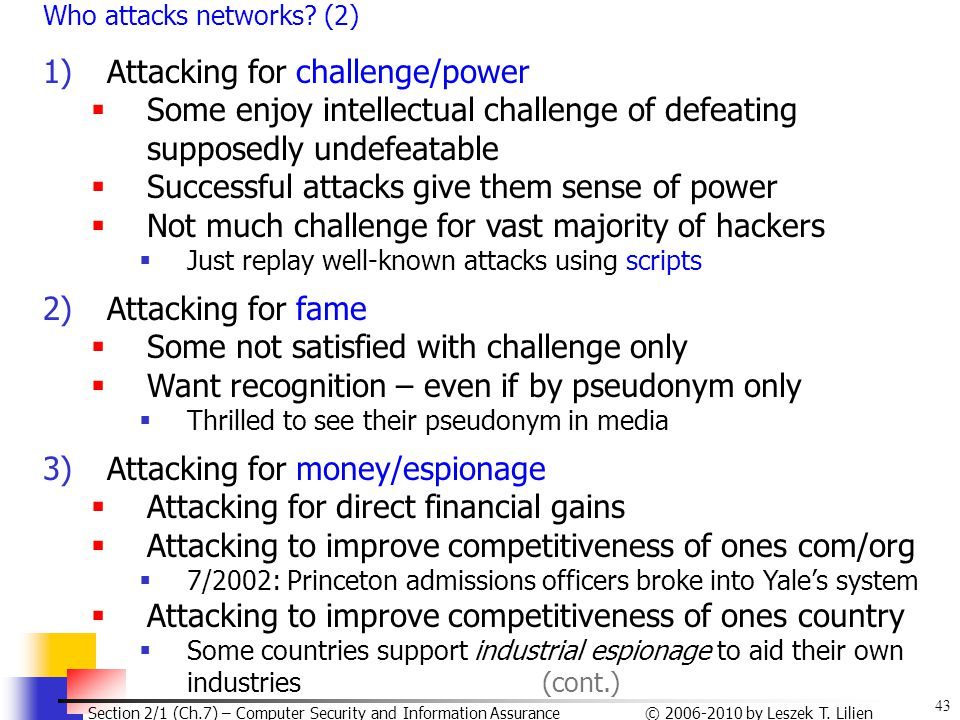 Attacking for challenge/power