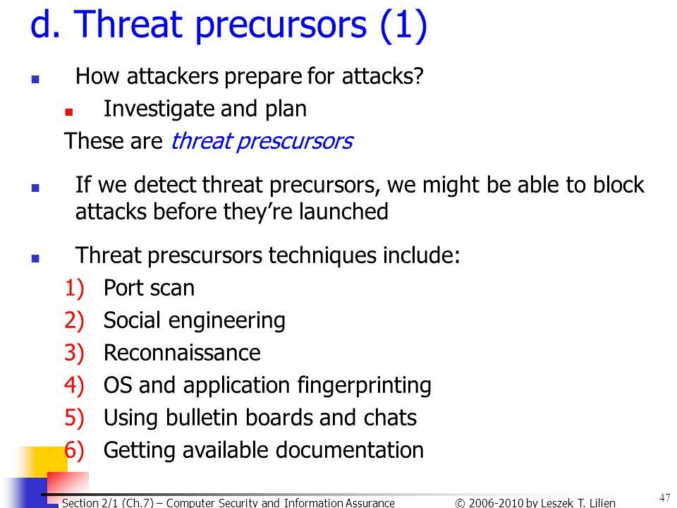 d. Threat precursors (1) How attackers prepare for attacks