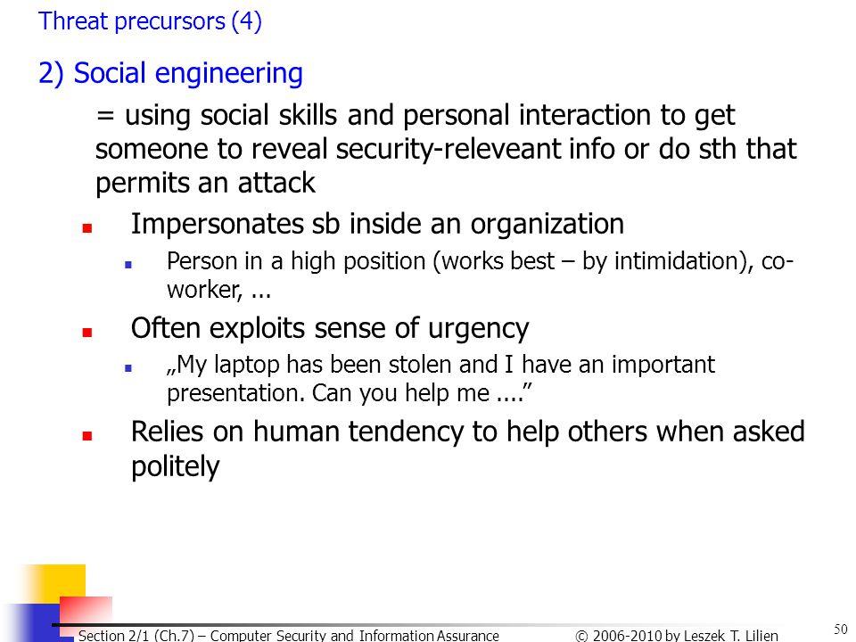 Impersonates sb inside an organization