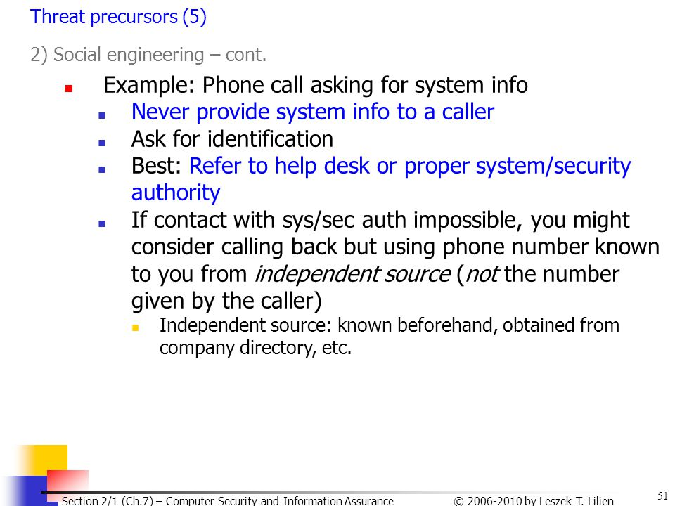 Example: Phone call asking for system info