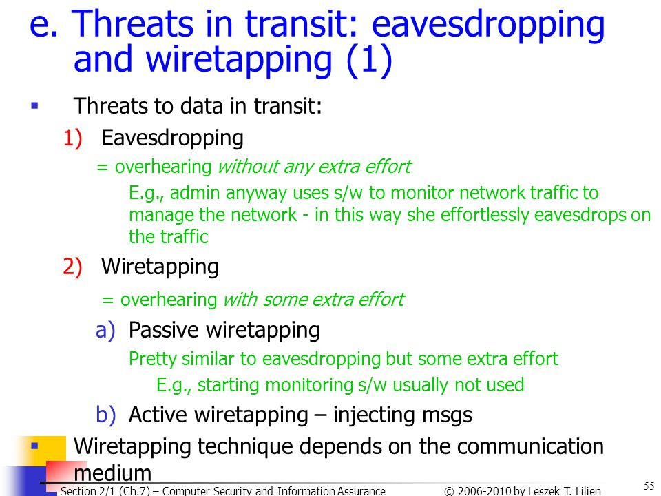e. Threats in transit: eavesdropping and wiretapping (1)